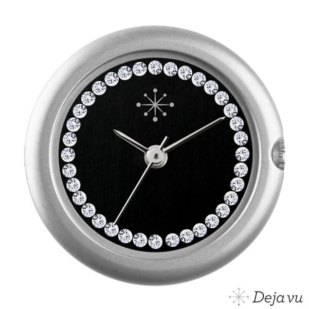 Deja Vu Mat zilver, zwart, Swarovski CS109m